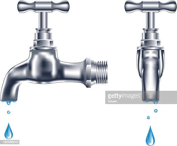 faucet dripping - front view stock illustrations