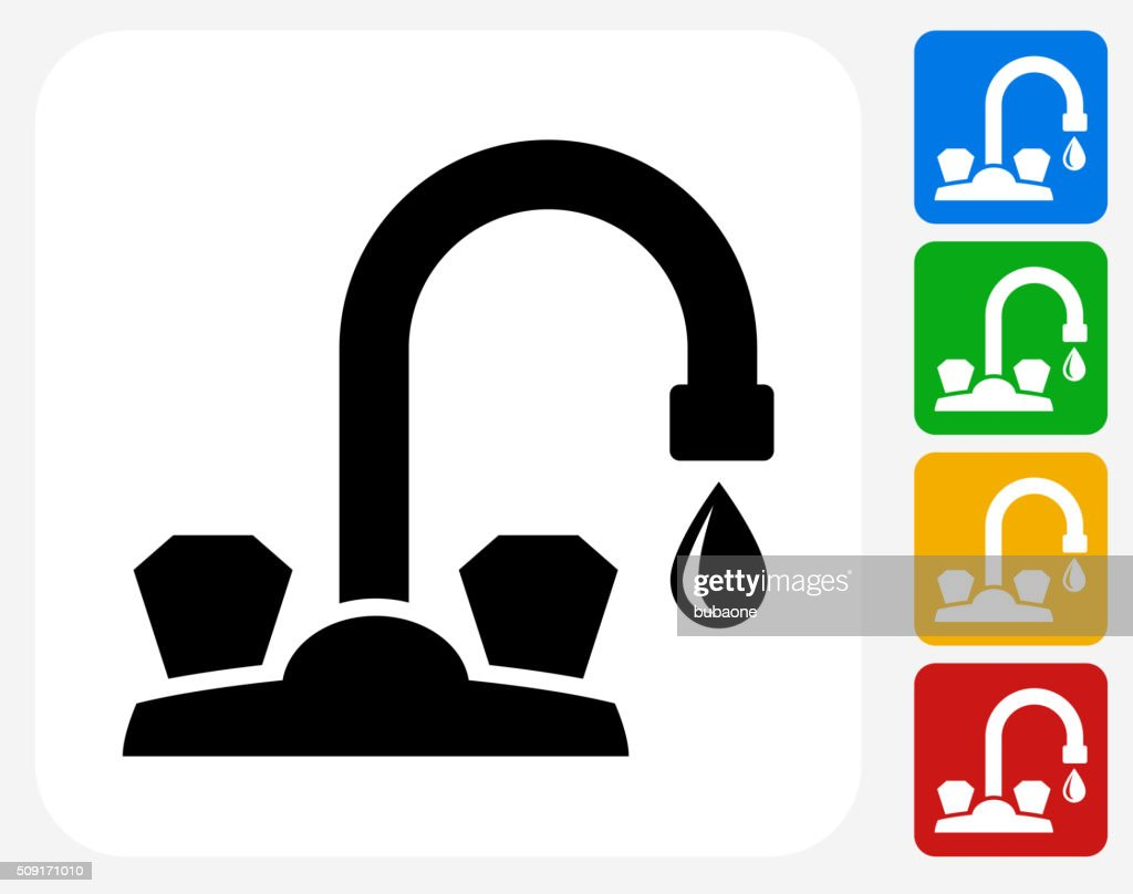 Faucet Icon Flat Graphic Design