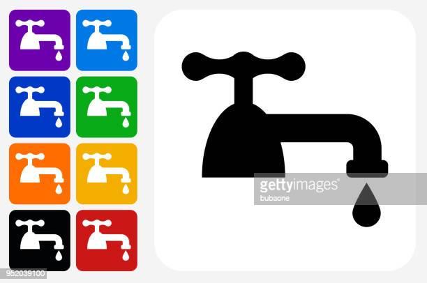 Faucet Icon Square Button Set