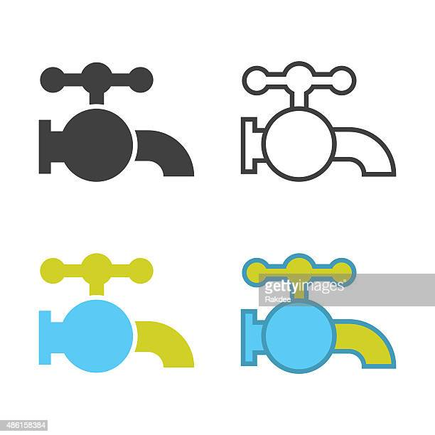 faucet icon - water valve stock illustrations, clip art, cartoons, & icons