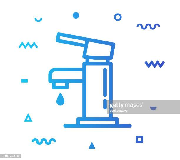 faucet line style icon design - bathroom stock illustrations, clip art, cartoons, & icons