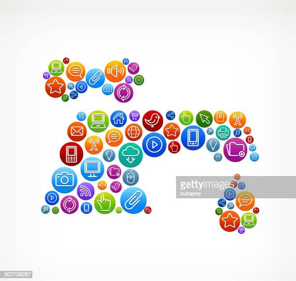 faucet on social networking & internet color buttons - volume fluid capacity stock illustrations
