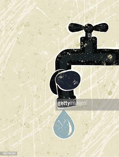 Faucet ( Tap ) Tied in a Knot with Water Droplet