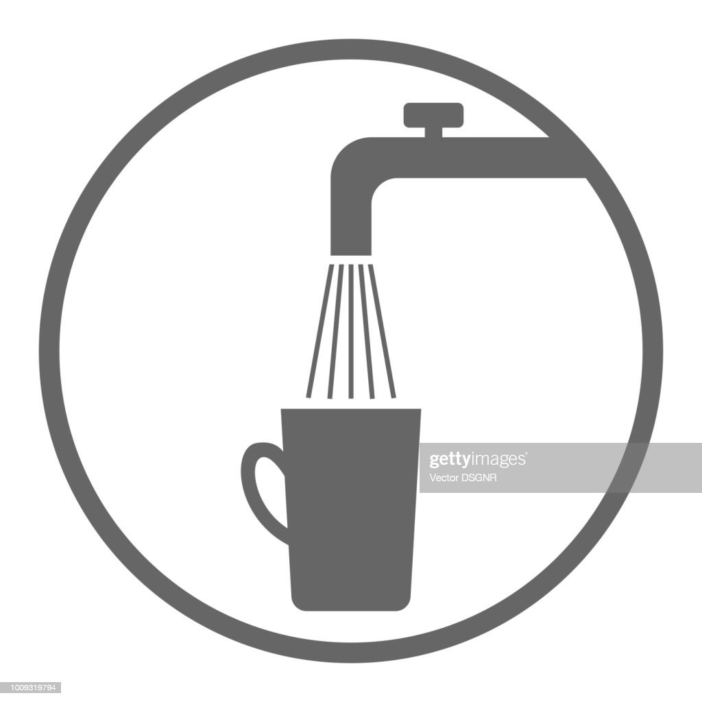 Faucet, water and cup. Drinking water symbol. Vector