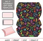 Favor, gift box die cut. Box template.