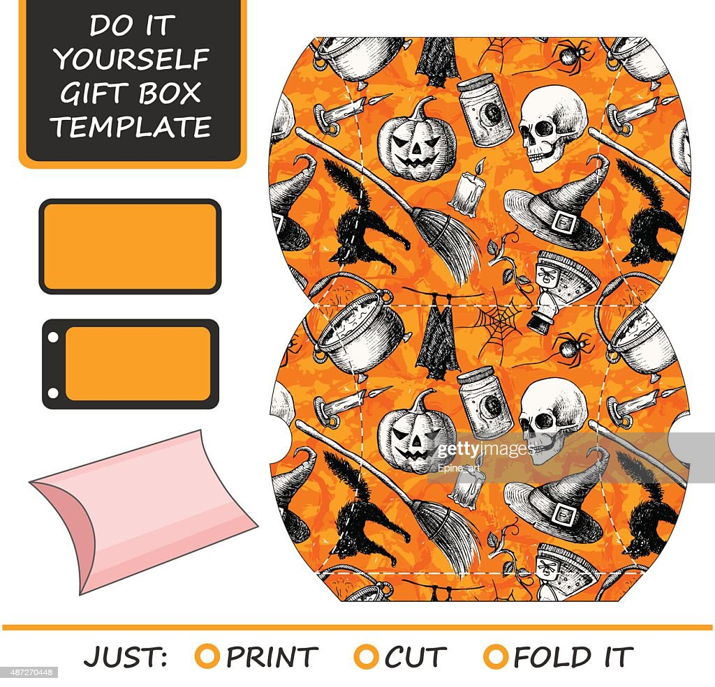 Favor gift box die cut box template with halloween pattern vector favor gift box die cut box template with halloween pattern vector art solutioingenieria Images
