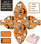 Favor, gift box die cut. Box template with Halloween pattern