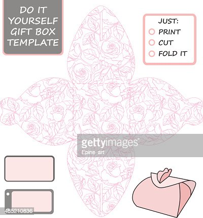 favor gift box die cut box template with rose pattern vector art