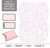 Favor, gift box die cut. Box template with rose
