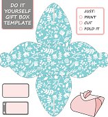 Favor, gift box die cut. Box template with tiffany blue