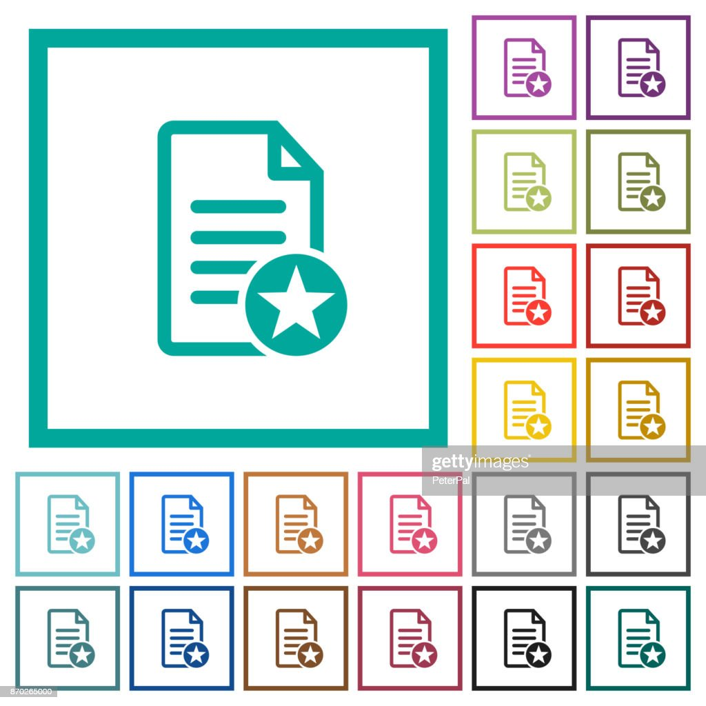 Favorite document flat color icons with quadrant frames