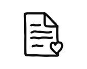 favorite file icon hand drawn design illustration