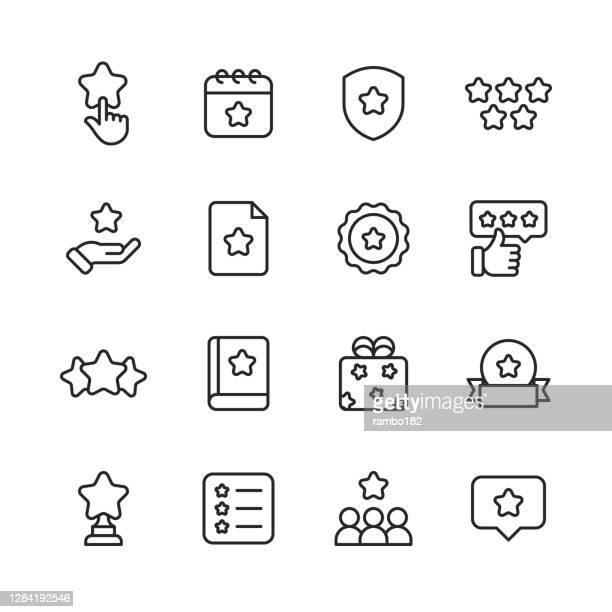 お気に入りとブックマーク行アイコン。編集可能なストローク。ピクセルパーフェクト。モバイルとウェブ用。スター、人間の手、レビュー、フィードバック、評価、カレンダー、盾、バッ� - ファーストクラス点のイラスト素材/クリップアート素材/マンガ素材/アイコン素材