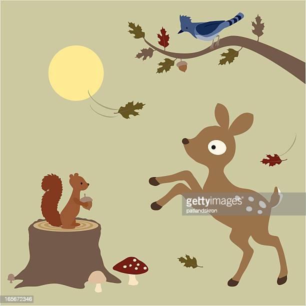 illustrations, cliparts, dessins animés et icônes de faon jouant dans les feuilles - écureuil