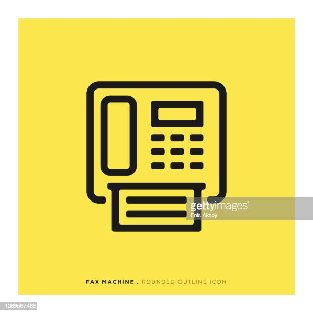 fax machine rounded line icon - photocopier stock illustrations, clip art, cartoons, & icons