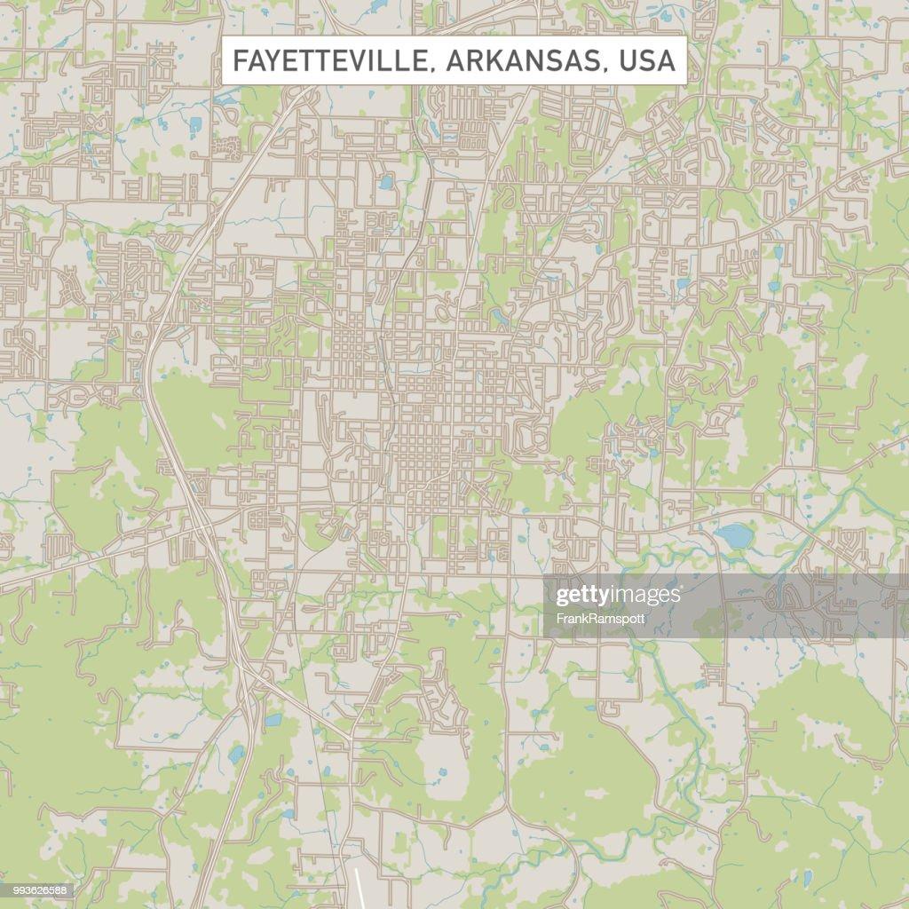 Fayetteville, Arkansas USA Stadtstraße Karte : Vektorgrafik