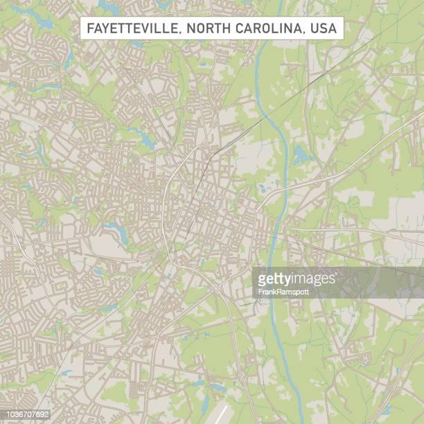 Fayetteville, North Carolina USA Stadtstraße Karte
