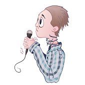 Fear of public speaking, glossophobia. Excitement and loss of voice. Young man with microphone and barbed wire on neck. Vector illustration, isolated on white.
