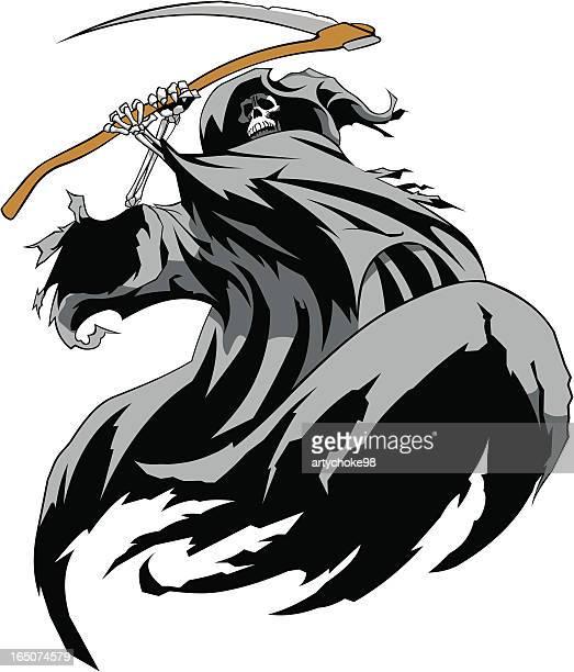 ilustraciones, imágenes clip art, dibujos animados e iconos de stock de miedo la reaper - la muerte