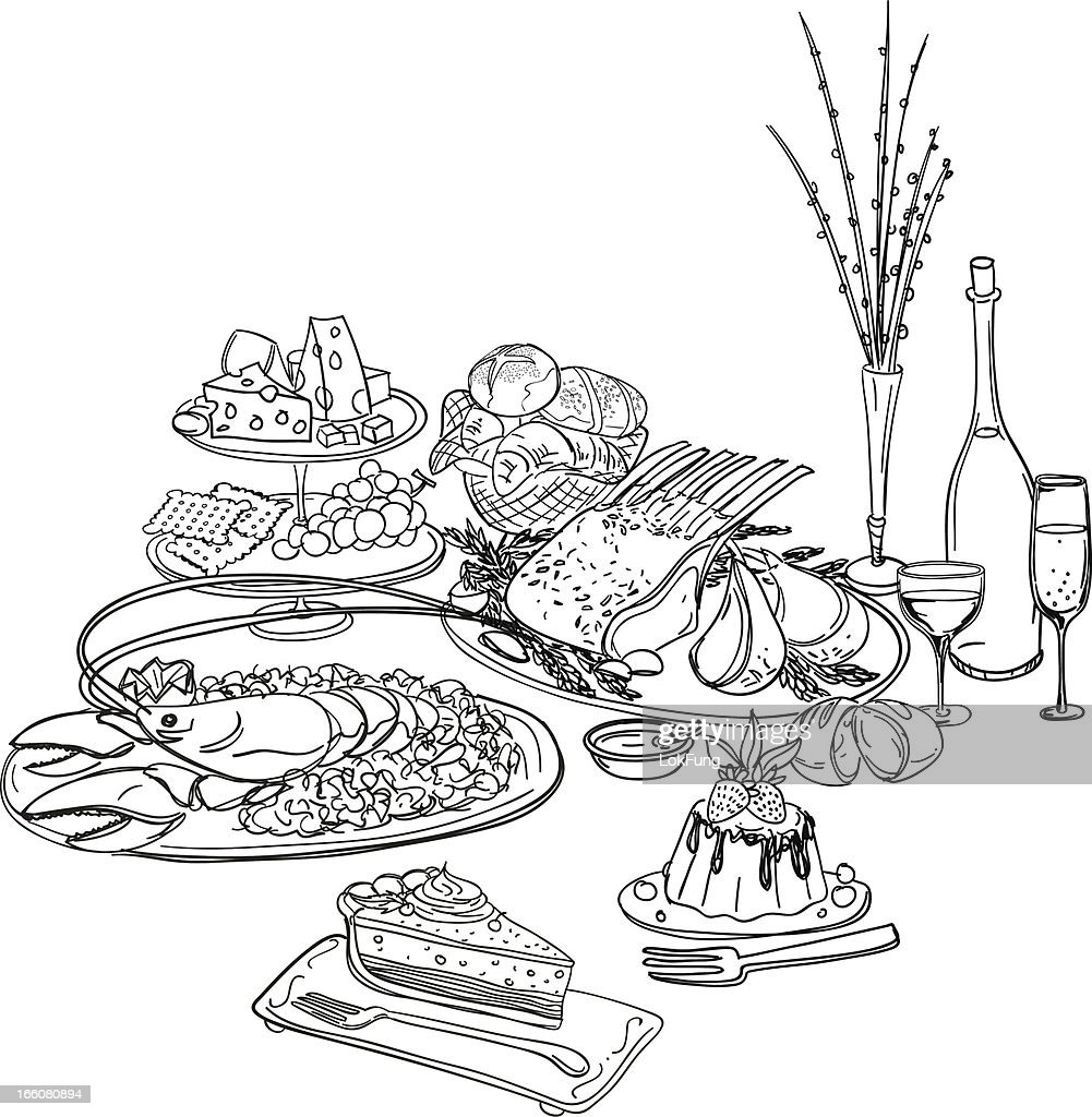Feast illustration in black and white : stock illustration