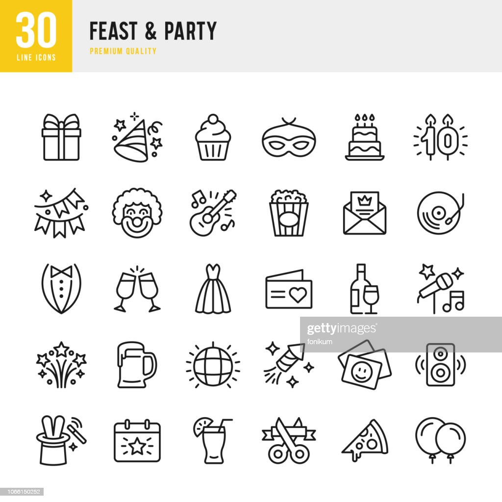 Feast & Party - set of line vector icons : stock illustration