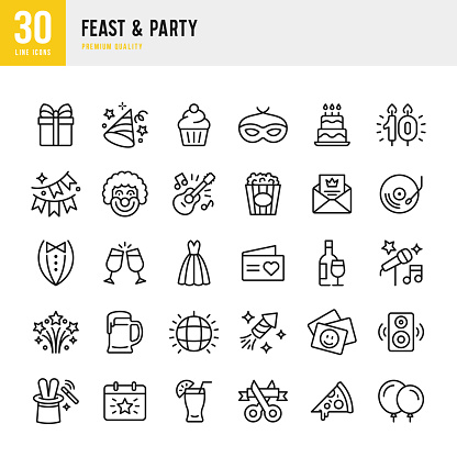 Feast & Party - set of line vector icons - gettyimageskorea