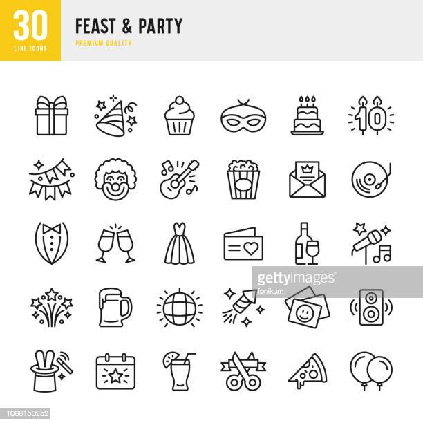 illustrazioni stock, clip art, cartoni animati e icone di tendenza di feast & party - set of line vector icons - festeggiamento