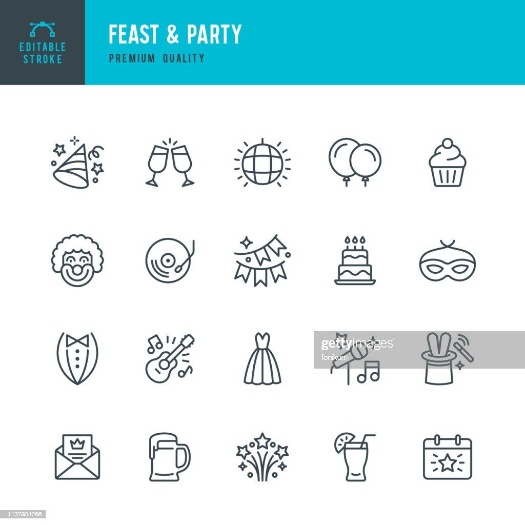 Feast & Party-uppsättning linje vektor ikoner : Illustrationer