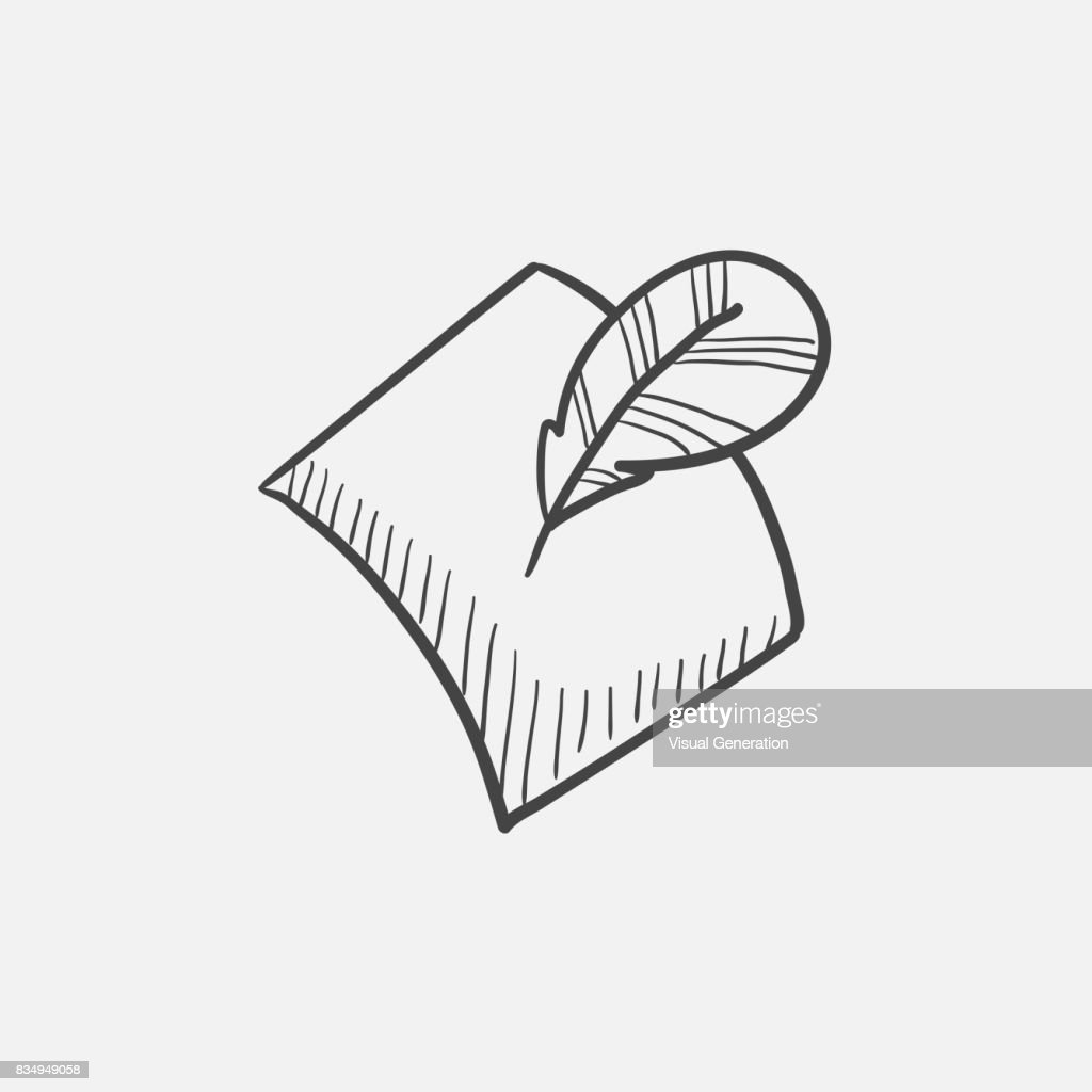 Feather and document sketch icon