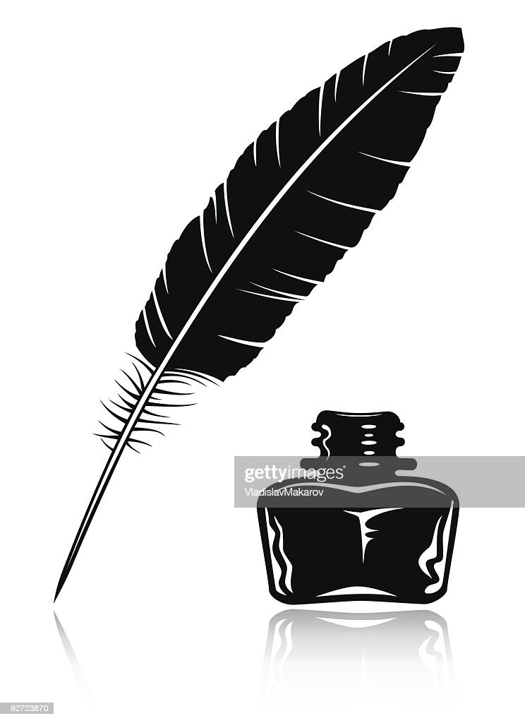 feather and ink bottle