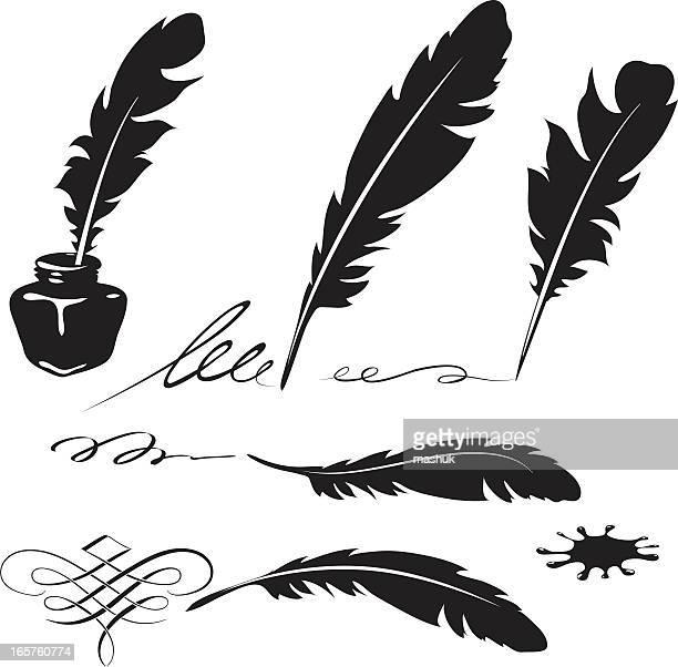 ilustraciones, imágenes clip art, dibujos animados e iconos de stock de pluma tinta - plumadeescribir