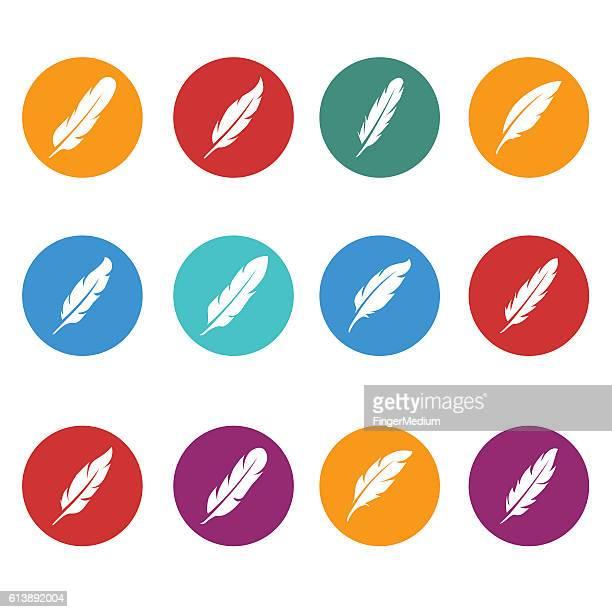 ilustraciones, imágenes clip art, dibujos animados e iconos de stock de conjunto de iconos de pluma - plumadeescribir