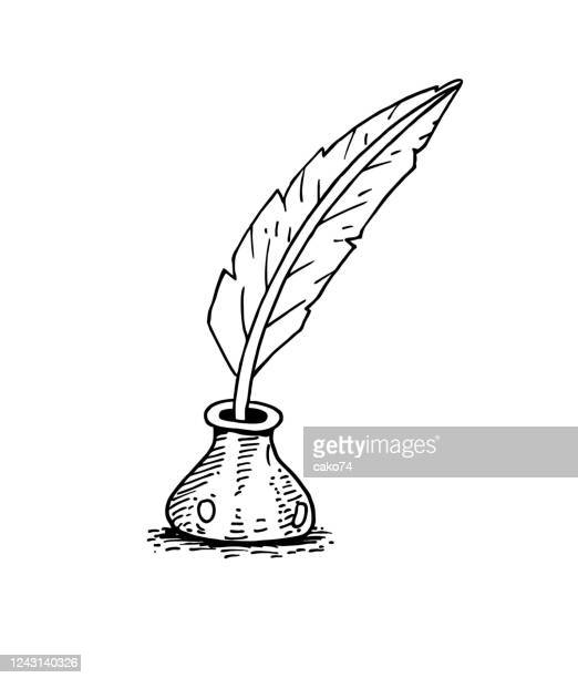 feather pen and ink bottle - poetry literature stock illustrations