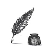 Feather pen and inkwell. Drawing of ancient stationery on white background in doodle style.