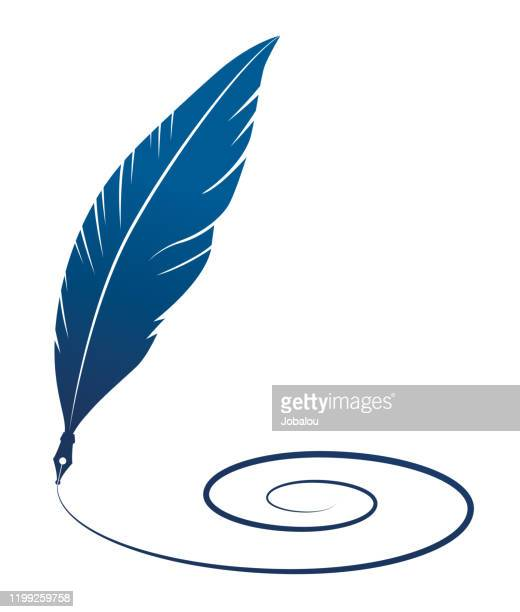 feather quill silhouette writing spiral line - poet stock illustrations