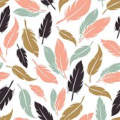 Feather seamless pattern in boho colors