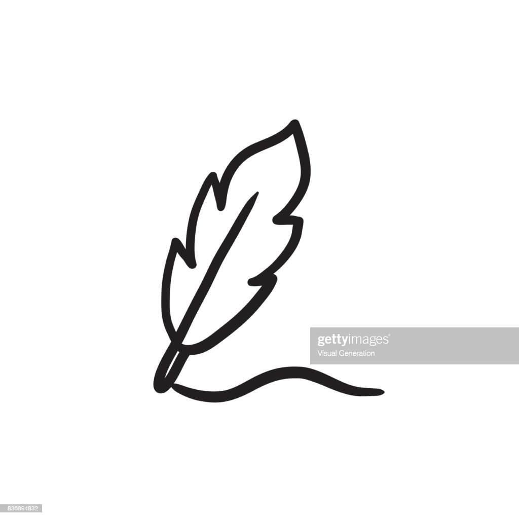 Feather sketch icon