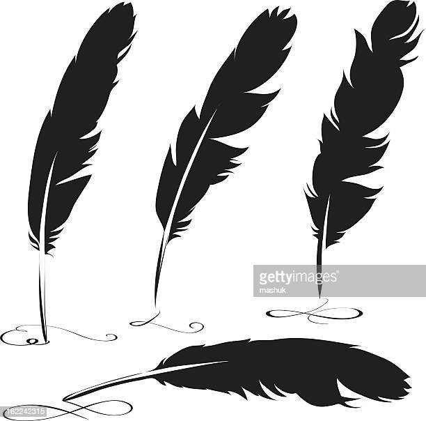 feather - quill pen stock illustrations