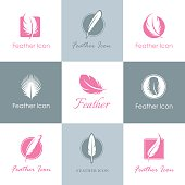 Feathers logo set