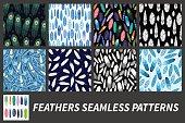 Feathers. Set of seamless patterns.