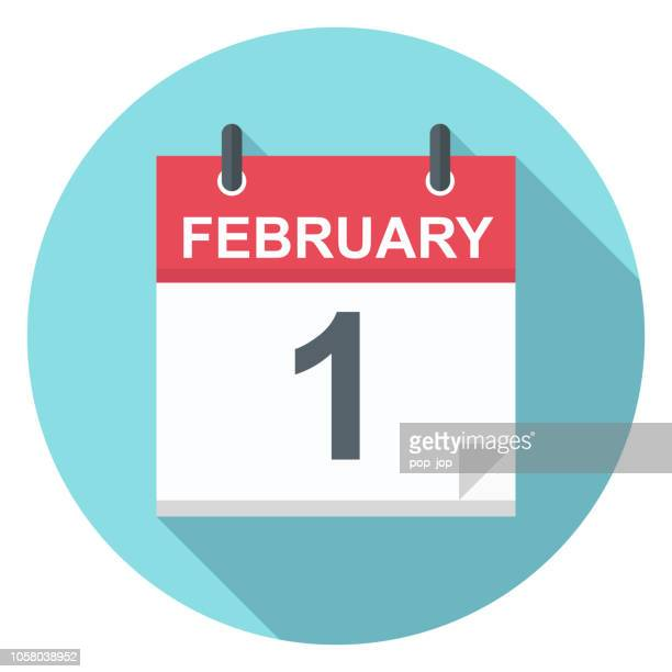 ilustrações de stock, clip art, desenhos animados e ícones de february 1 - calendar icon - fevereiro
