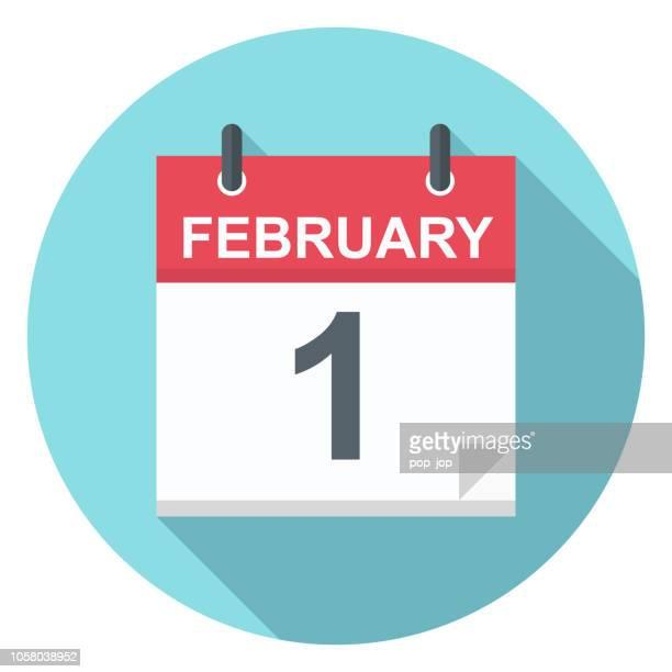 february 1 - calendar icon - february stock illustrations