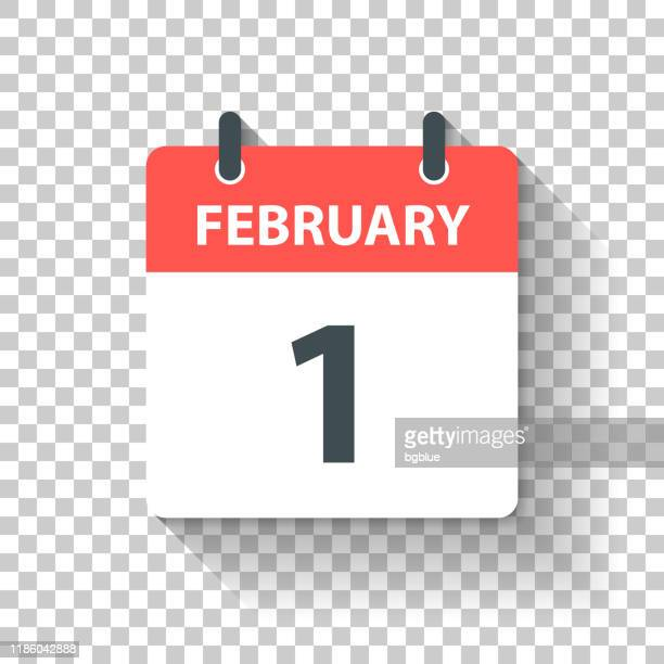 february 1 - daily calendar icon in flat design style - february stock illustrations