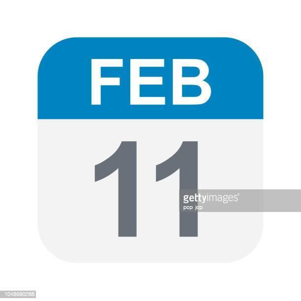 february 11 - calendar icon - february stock illustrations
