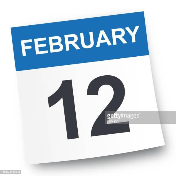 february 12 - calendar icon - february stock illustrations