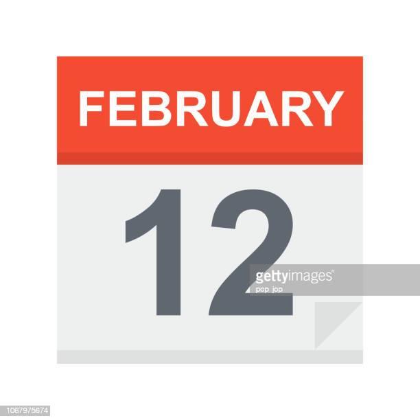 february 12 - calendar icon - february stock illustrations, clip art, cartoons, & icons