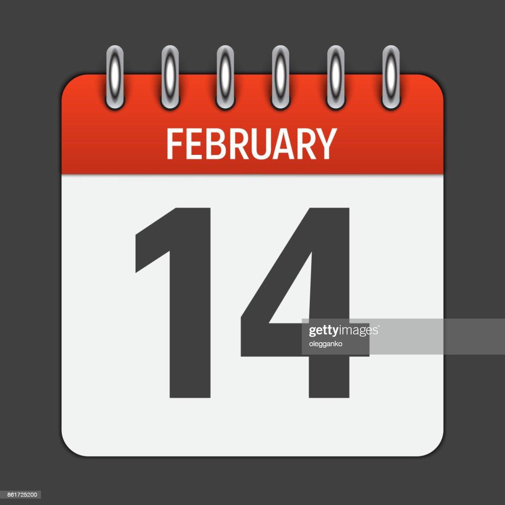 February 14 Calendar Daily Icon. Vector Illustration Emblem. Ele