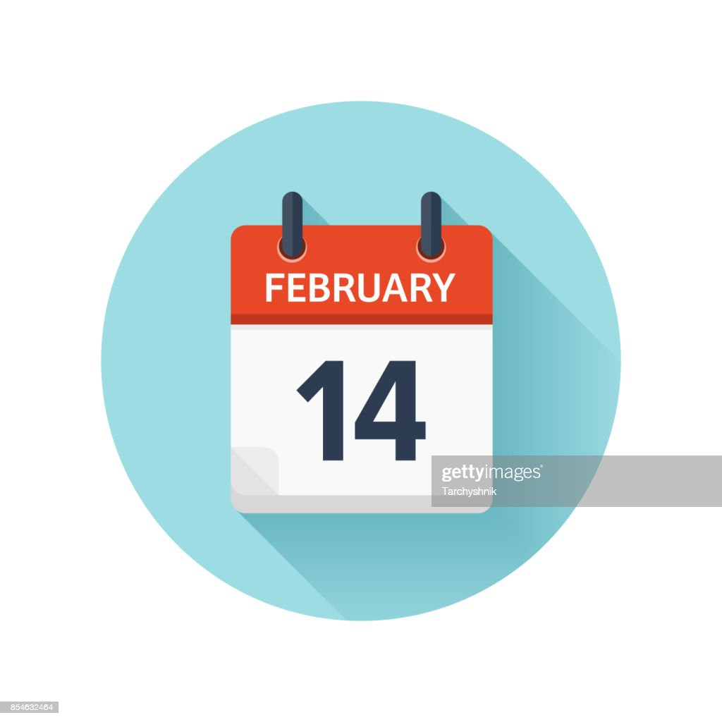 February 14. Vector flat daily calendar icon. Date and time, day, month 2018. Holiday. Season