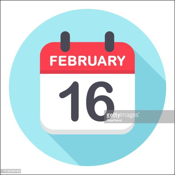 february 16 - calendar icon - round - february stock illustrations
