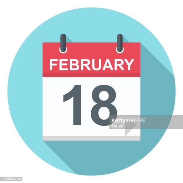 ilustrações de stock, clip art, desenhos animados e ícones de february 18 - calendar icon - fevereiro